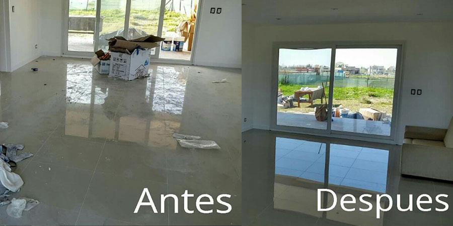 antes y después de limpiar y recoger