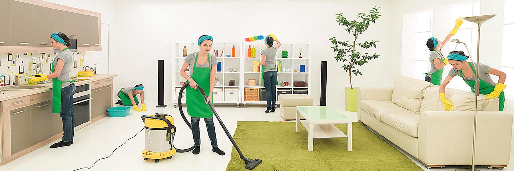 chica de limpieza del hogar