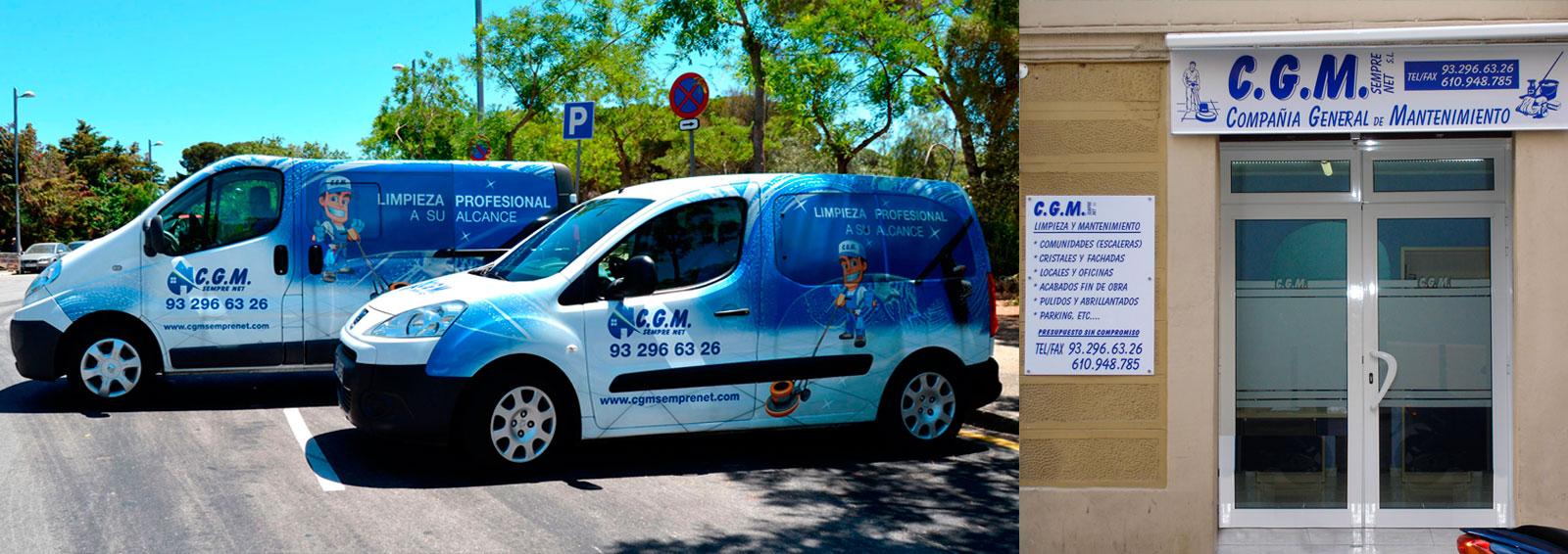 oficinas CGM y vehiculos de limpieza